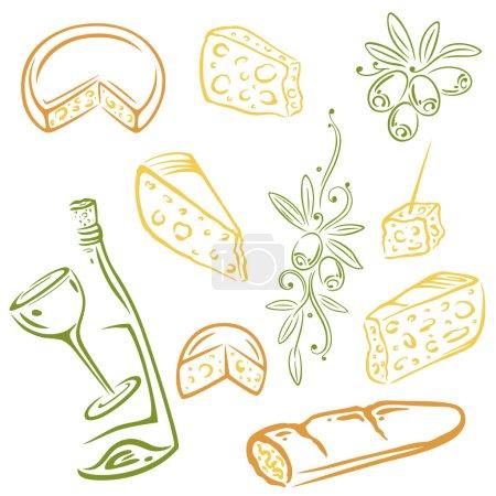 Illustration pour Fromage, vin et olives, ensemble vectoriel coloré - image libre de droit