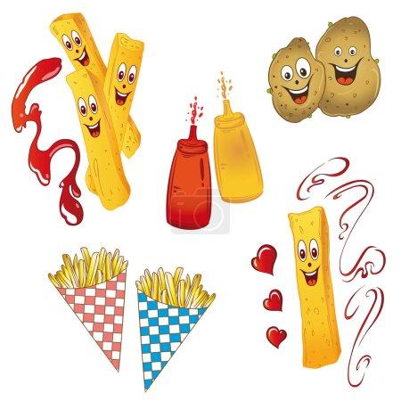 Illustration pour Pommes de terre et frites, ensemble vectoriel - image libre de droit