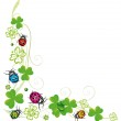 Sylvester decoration, clover with colorful ladybug...