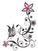 Květiny, motýl