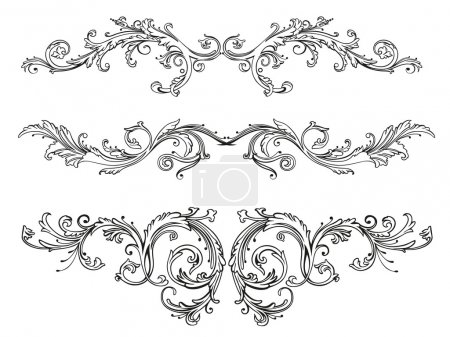 Illustration for Vintage tendril, floral and filigree border. Abstract decoration. - Royalty Free Image