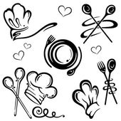 Vector set chef hats and kitchen utensils
