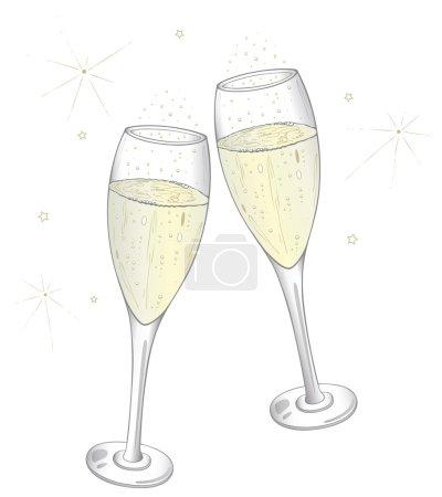 Illustration pour Verres à champagne colorés, veille du Nouvel An - image libre de droit