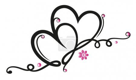 Illustration pour Bordure en filigrane avec des cœurs, décoration de la Saint-Valentin - image libre de droit