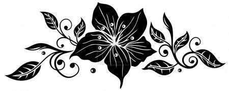 Illustration pour Belles fleurs noires et blanches. Dessiné dans un style rétro graphique - image libre de droit