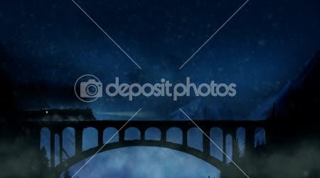 Vonat áthalad a hegyi viadukt havas éjszaka