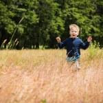 Little blonde boy in field...