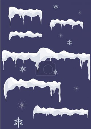 Ice-sheet with icicles, stars and snowflakes.