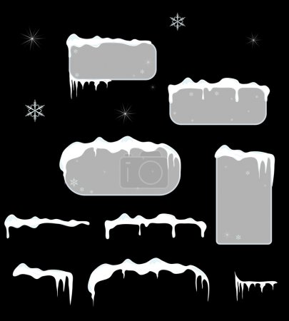Illustration for Christmas grey sale stickers and tags with icicles, stars and snowflakes on a black vector background.Snow top. - Royalty Free Image