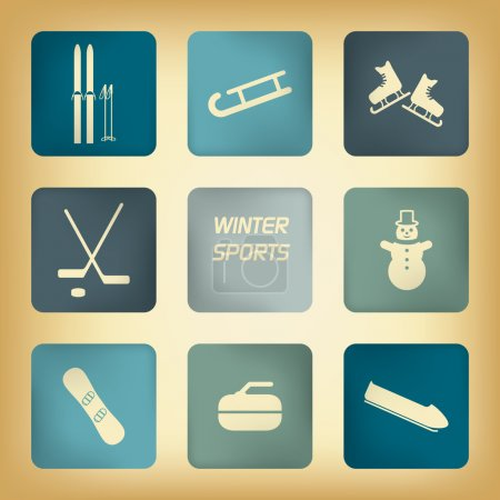 Winter sport pictograms with various winter sports