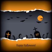Halloween postcard vector illustration with scary theme and space for text