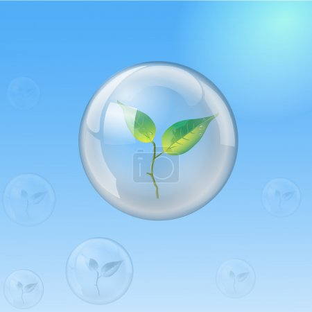 Illustration for Sprout is located inside the glass sphere, as a symbol of protection of natural environment - Royalty Free Image