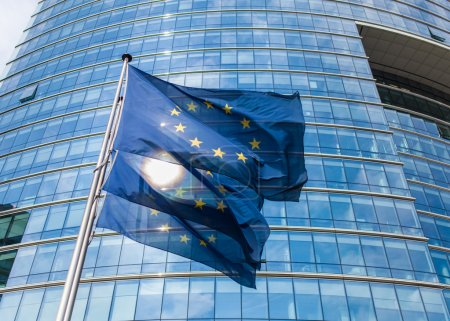Photo for European flags in front of the European Commission headquaters - Royalty Free Image