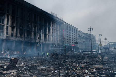 Burned building at the Maidan in Kyiv, Ukraine dur...
