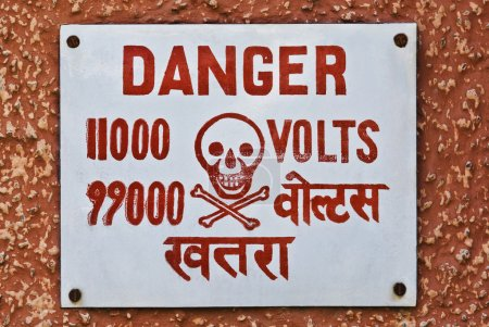 High Voltage warning signboard on a wall, Gurgaon,...