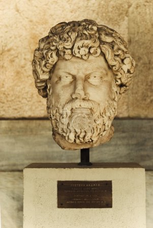 Bust in a museum, Stoa of Attalos