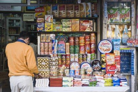 Man shopping in a street market