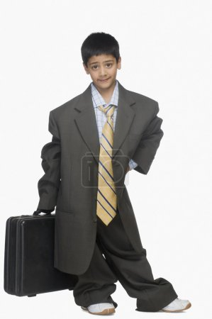 Boy wearing oversized suit