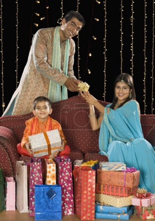 Family with gifts on Diwali festival