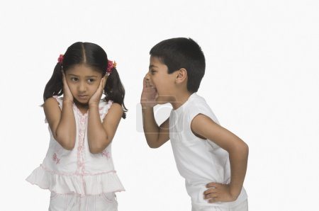 Girl covering her ears while her brother shouting
