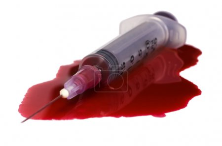 Blood with a syringe