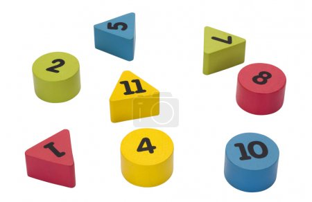 Photo for Close-up of number blocks in geometric shapes - Royalty Free Image