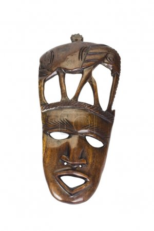 Close-up of a wooden mask