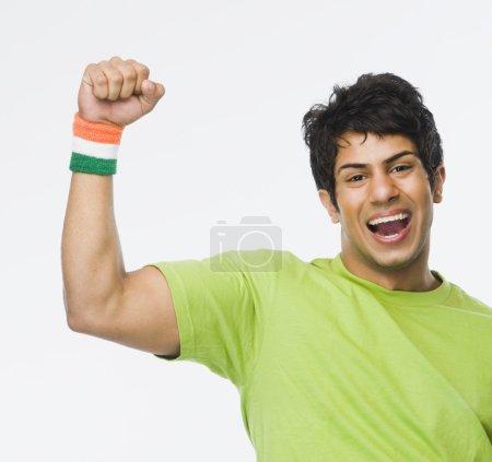 Man clenching fist