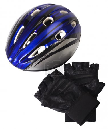 Close-up of a cycling helmet with cycling gloves