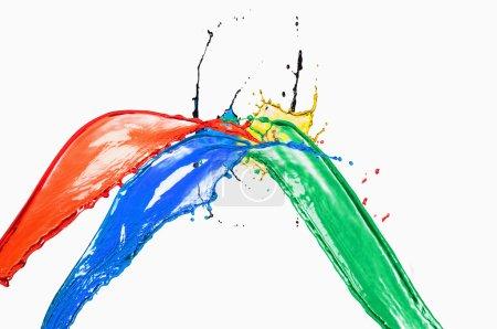 Photo pour Des éclaboussures de couleurs différentes sur fond blanc - image libre de droit