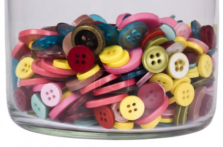Buttons in a glass jar