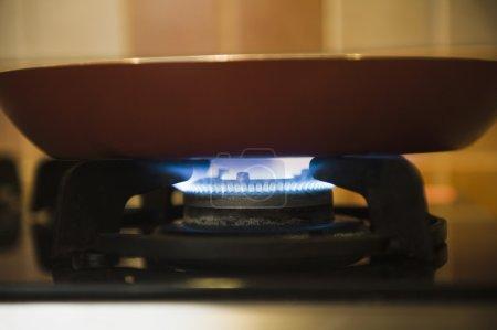 Pan on a gas stove burner