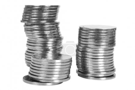 Close-up of stacks of coins
