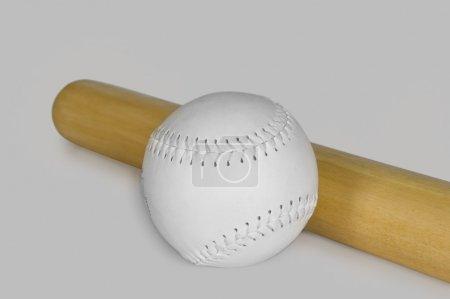 Baseball bat with a baseball