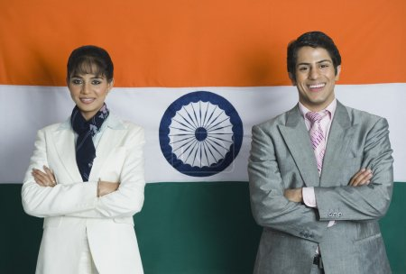 Business executives in front of an Indian flag