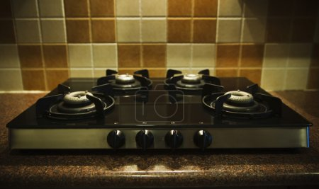 Photo for Gas stove on a kitchen counter - Royalty Free Image