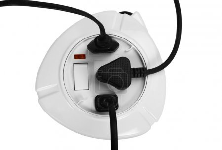 Close-up of a multi-outlet plug board