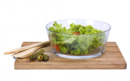 Photo for Close-up of a bowl of salad on a cutting board - Royalty Free Image
