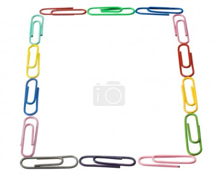 Close-up of paper clips arranged in a rectangular shape