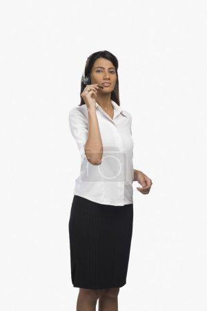 Customer service representative using a headset