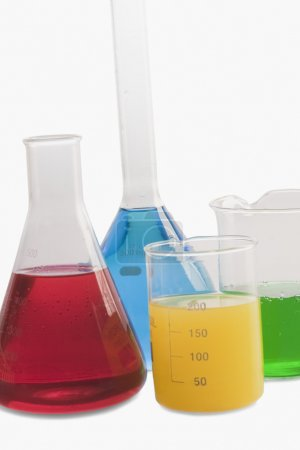 Laboratory glassware with chemicals