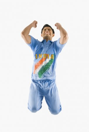 Cricket bowler celebrating