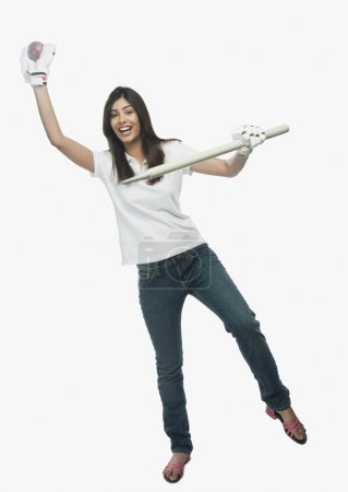 Female cricket fan cheering