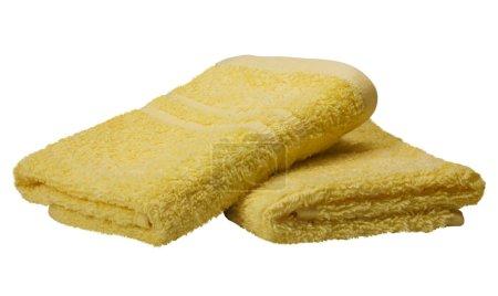 Photo pour Gros plan de deux serviettes jaunes - image libre de droit
