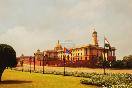 Photo pour Façade d'un bâtiment public, rashtrapati bhawan, new delhi, Inde - image libre de droit