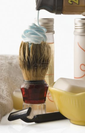 Shaving brush with toiletries