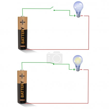 Open and Closed switches using a light bulb and battery
