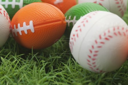 Assorted balls on grass
