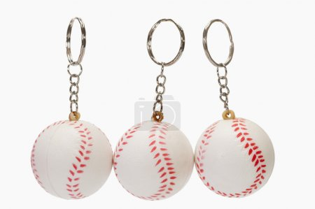 Baseball shaped key rings
