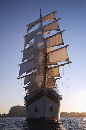 Clipper ship in a sea